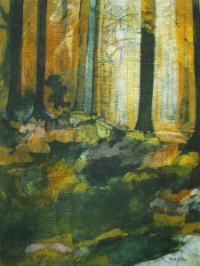 Golden Light : Batik on Linen : 19%22 X 14%22 : Bernadette Madden