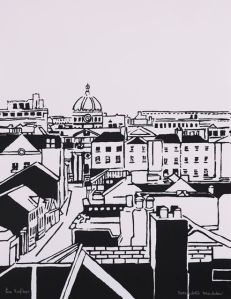 Rooftops : Screenprint on paper : Bernadette Madden