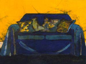 Bernadette Madden : Yellow Cushions : Wax resist on linen