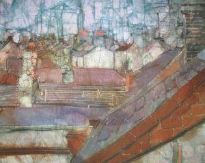 Sloping Slates : Wax resist on linen : Bernadette Madden