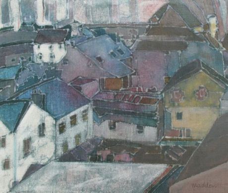 Old Town_Wax resist on linen_Bernadette Madden